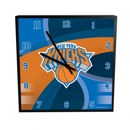 New York Knicks Carbon Fiber Square Clock