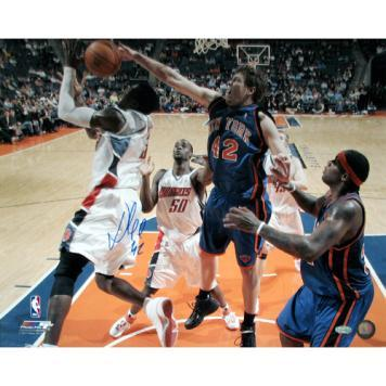 "New York Knicks David Lee Blocking Gerald Wallace Signed 16"" x 20"" Photo"