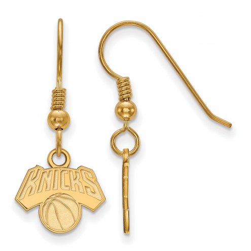 New York Knicks Sterling Silver Gold Plated Extra Small Wire Dangle Earrings