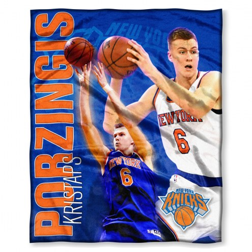 New York Knicks Kristaps Porzingis Silk Touch Blanket