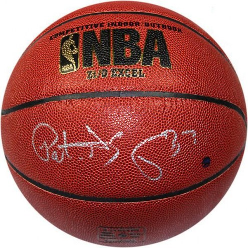New York Knicks Patrick Ewing Signed Indoor/Outdoor Zi/O Brown Basketball