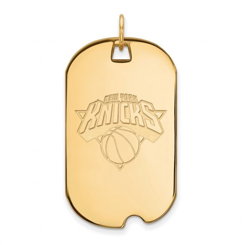 New York Knicks Sterling Silver Gold Plated Large Dog Tag