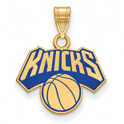 New York Knicks Sterling Silver Gold Plated Small Enameled Pendant