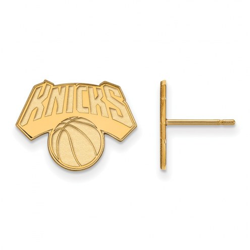 New York Knicks Sterling Silver Gold Plated Small Post Earrings