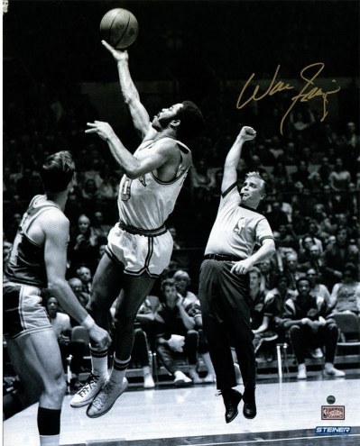 "New York Knicks Walt Frazier Jump Shot over Jerry West (Signed In Gold) Signed 16"" x 20"" Photo"