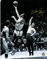 """New York Knicks Walt Frazier Jump Shot over Jerry West (Signed In Gold) Signed 16"""" x 20"""" Photo"""