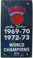New York Knicks Walt Frazier Signed Authentic 4 x 8 Piece of 1973 MSG Court w/ Championship Banner