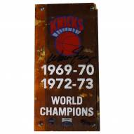 New York Knicks Walter Frazier Signed Authentic 4 x 8 Piece of 1973 MSG Court w/ Championship Banner Plexi
