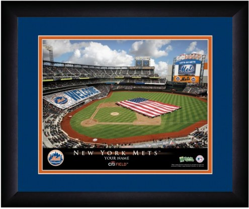 New York Mets 13 x 16 Personalized Framed Stadium Print