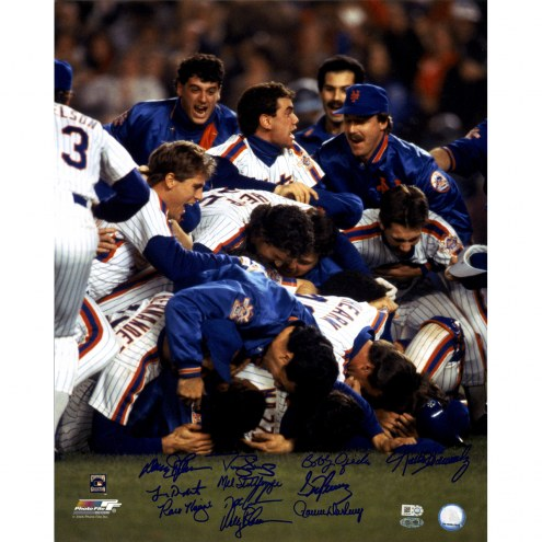 "New York Mets 1986 11 Signature Close Up WS Celebration Signed 16"" x 20"" Photo"