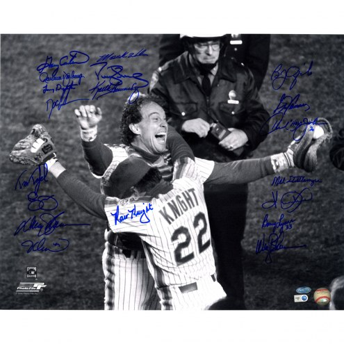 "New York Mets 1986 Knight Hugging Carter w/ Gary Carter (19 Signatures) Signed 16"" x 20"" Photo"