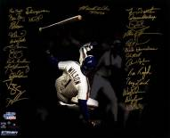 New York Mets 1986 Team Signed Mookie Wilson Avoiding Being Hit By Pitch Game 6 1986 World Series 20 x 24 Photo
