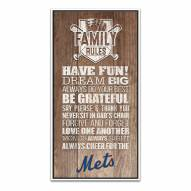 New York Mets Family Rules Icon Wood Framed Printed Canvas