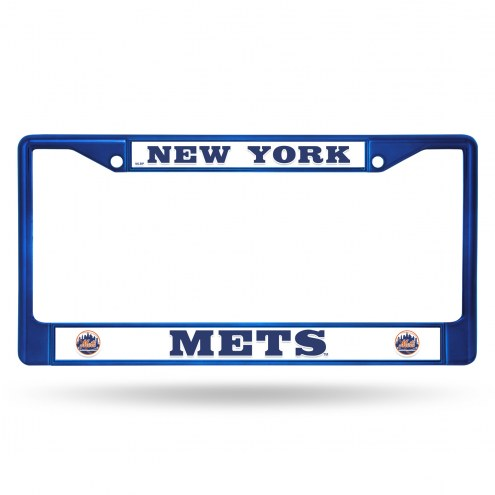 New York Mets Blue Colored Chrome License Plate Frame