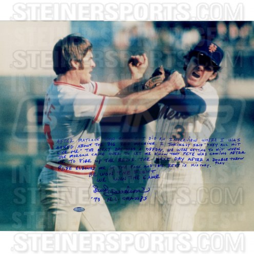 """New York Mets Bud Harrelson Fighting w/ Pete Rose Story Signed 16"""" x 20"""" Photo"""