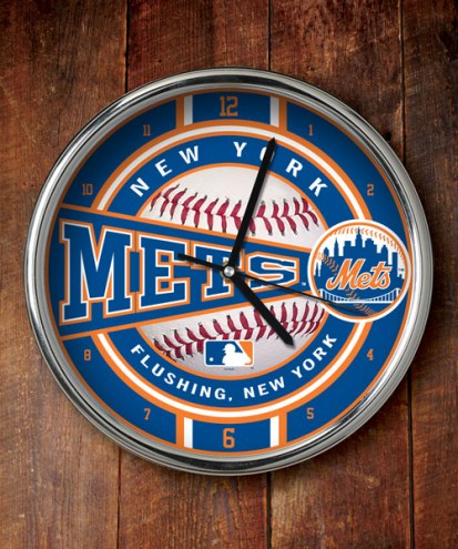 New York Mets Chrome Wall Clock