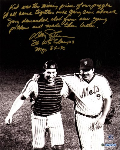 """New York Mets Davey Johnson with Gary Carter Story Signed 16"""" x 20"""" Photo"""