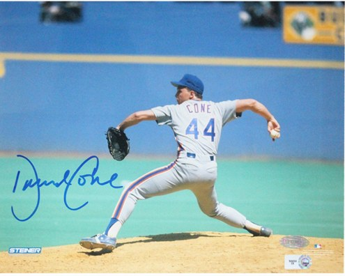 New York Mets David Cone Grey Jersey Pitching Horizontal Signed 8 x 10 Photo