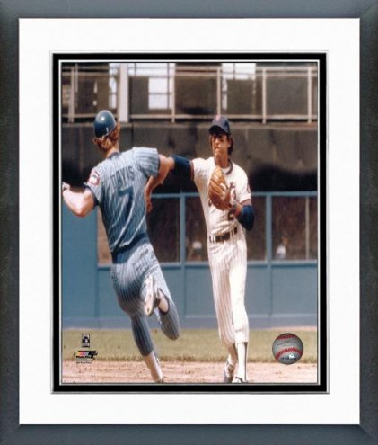 New York Mets Doug Flynn Turning a Double Play Framed Photo