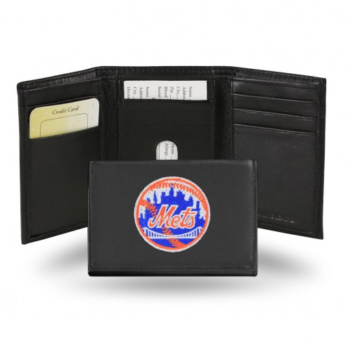 New York Mets Embroidered Leather Tri-Fold Wallet