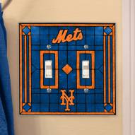 New York Mets Glass Double Switch Plate Cover
