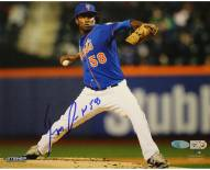 New York Mets Jenrry Mejia Signed Pitching Blue Jersey 8 x 10 Photo