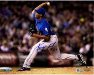 New York Mets Jeurys Familia Signed Pitching Side View 8 x 10 Photo
