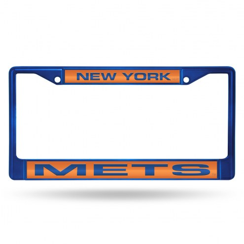 New York Mets Laser Colored Chrome License Plate Frame