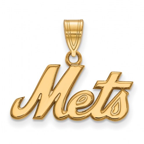 New York Mets Logo Art Sterling Silver Gold Plated Large Pendant
