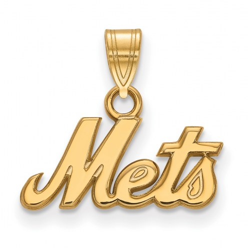 New York Mets Logo Art Sterling Silver Gold Plated Small Pendant