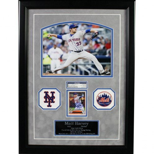 New York Mets Matt Harvey Framed Collage with Signed 2012 Topps Card