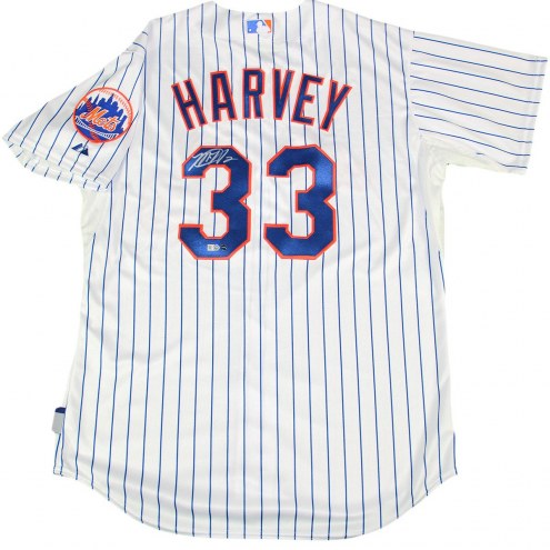 New York Mets Matt Harvey Signed Majestic Authentic Pinstripe Jersey with Logo Patch