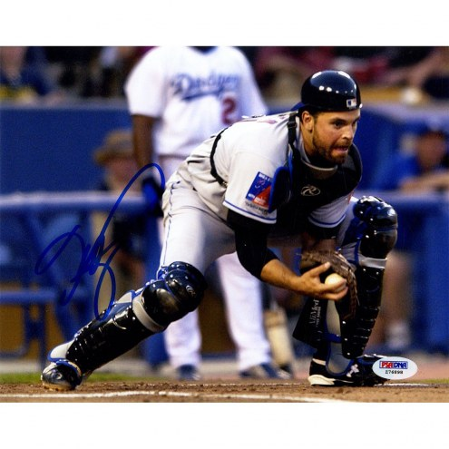 New York Mets Mike Piazza Signed at Home Plate vs Dodgers 8 x 10 Photo