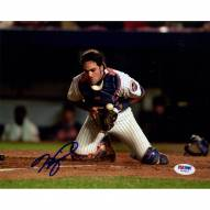New York Mets Mike Piazza Signed Fielding Ball at Home Plate 8 x 10 Photo