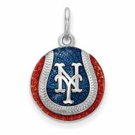 New York Mets Sterling Silver Baseball Pendant