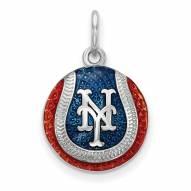 New York Mets Sterling Silver Baseball Pendant