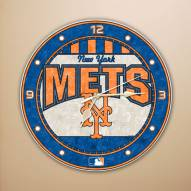New York Mets MLB Stained Glass Wall Clock
