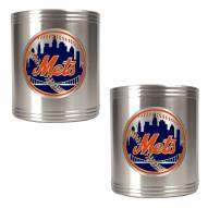 New York Mets MLB Stainless Steel Can Holder 2-Piece Set