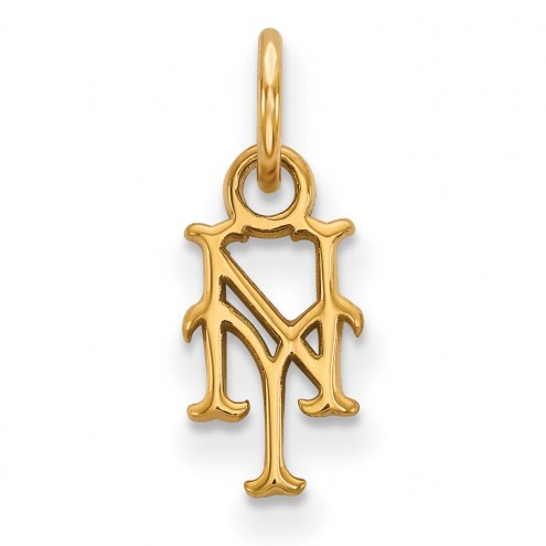 New York Mets MLB Sterling Silver Gold Plated Extra Small Pendant