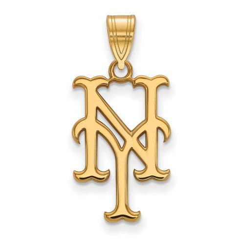 New York Mets MLB Sterling Silver Gold Plated Large Pendant