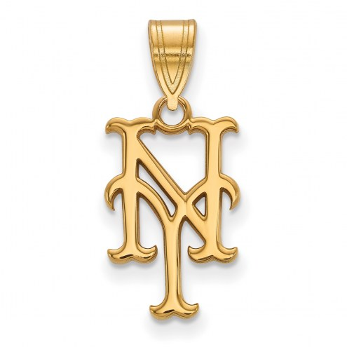 New York Mets MLB Sterling Silver Gold Plated Medium Pendant