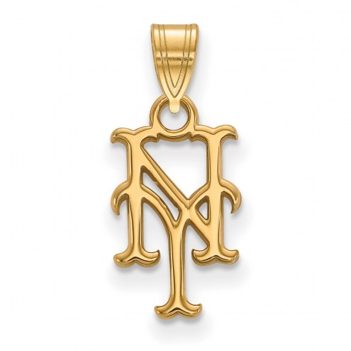 New York Mets MLB Sterling Silver Gold Plated Small Pendant