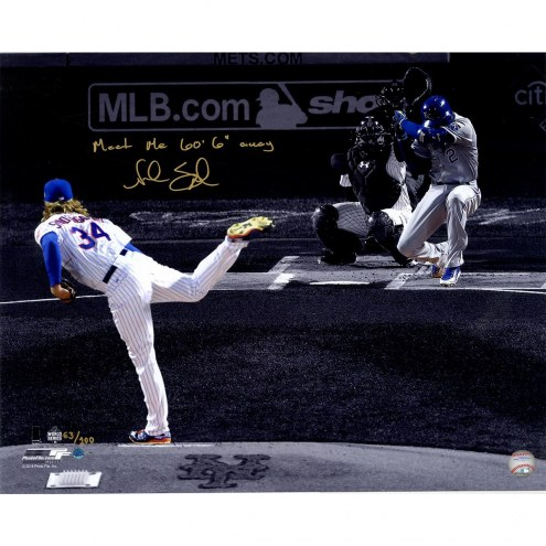 New York Mets Noah Syndergaard Signed 2015 World Series Game 3 1st Pitch 16 x 20 Spotlight Photo w/ Meet Me 60 6 Away