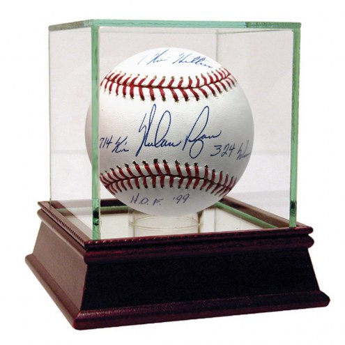 New York Mets Nolan Ryan Signed 4 Inscription OMLB Selig Baseball