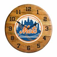 New York Mets Oak Barrel Clock