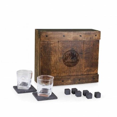 New York Mets Oak Whiskey Box Gift Set