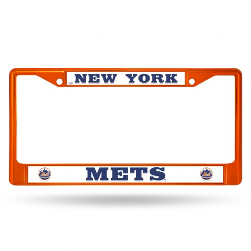 New York Mets Orange Colored Chrome License Plate Frame