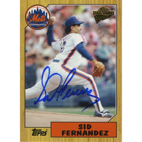 New York Mets Sid Fernandez Signed 2005 Topps Card 1/2 way through pitch