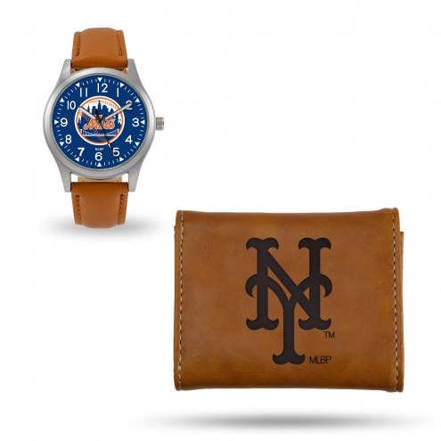 New York Mets Sparo Brown Watch & Wallet Gift Set