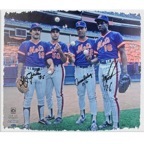 New York Mets Starters Posing at Shea Stadium Horizontal 20 x 24 Canvas Signed by Bobby Ojeda Dwight Gooden and Ron Darling
